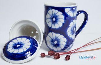 Ly lọc trà gốm hoa văn Hoa Cúc MNV-PT04