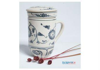 Ly lọc trà gốm hoa văn Hoa Cúc Xanh  MNV-PTCX01