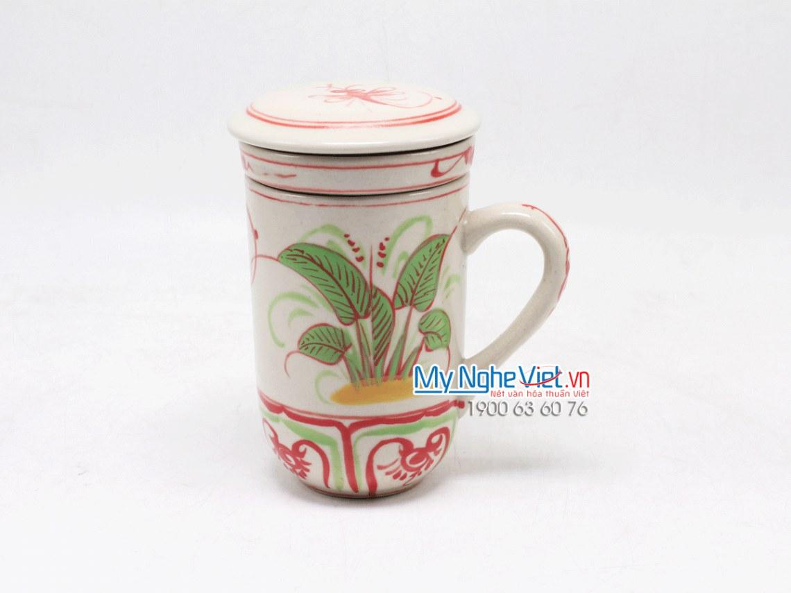 Ly lọc trà gốm hoa văn Chuồn Chuồn Đỏ MNV-PTCCĐ01