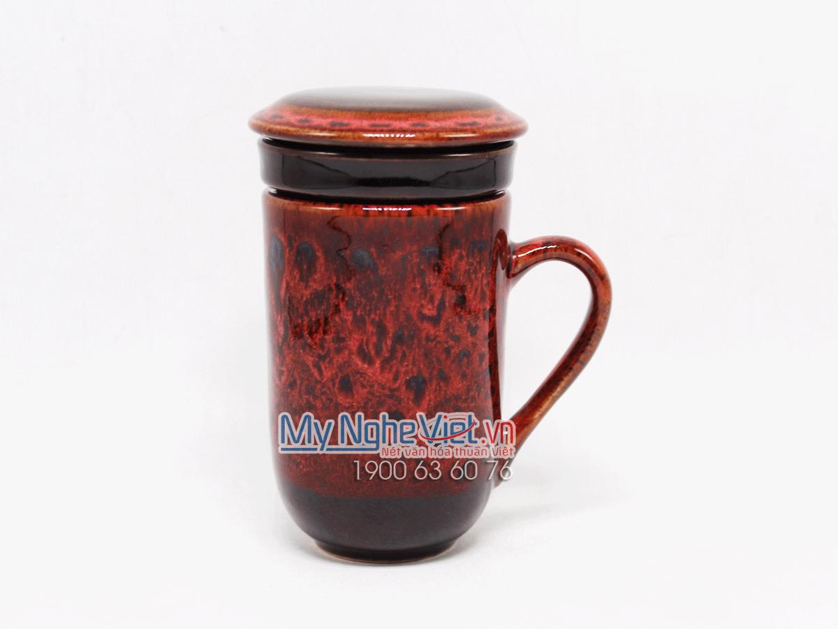 Ly lọc trà men Hỏa Biến màu đỏ MNV-LTM001-2