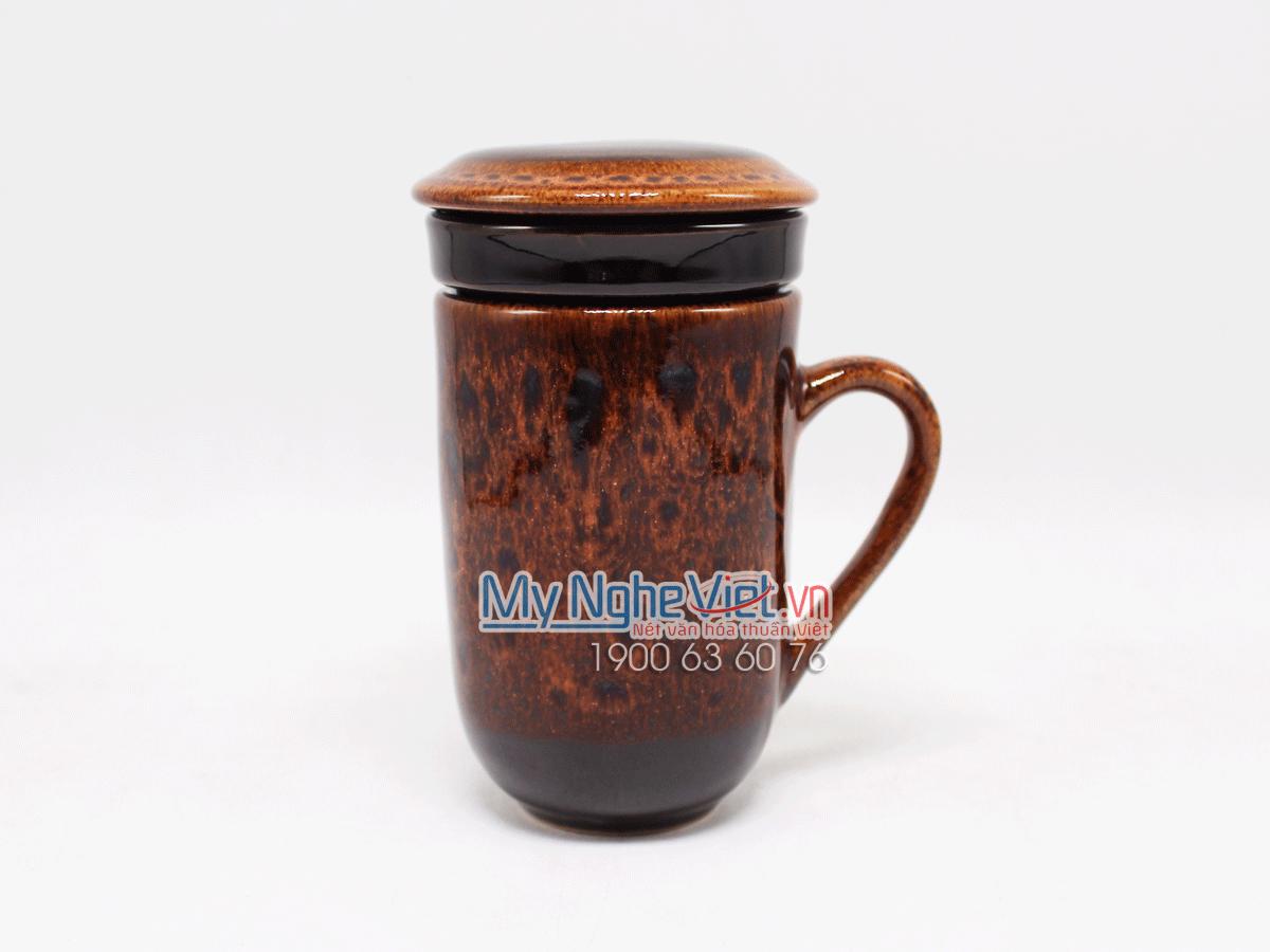 Ly lọc trà men Hỏa Biến màu cam MNV-LTM001-3