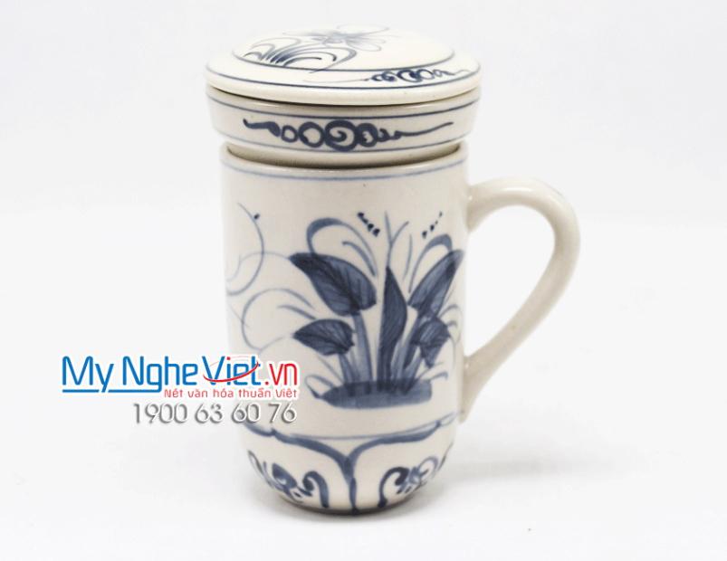 Ly lọc trà gốm hoa văn Chuồn Chuồn Xanh MNV-PTCCX01
