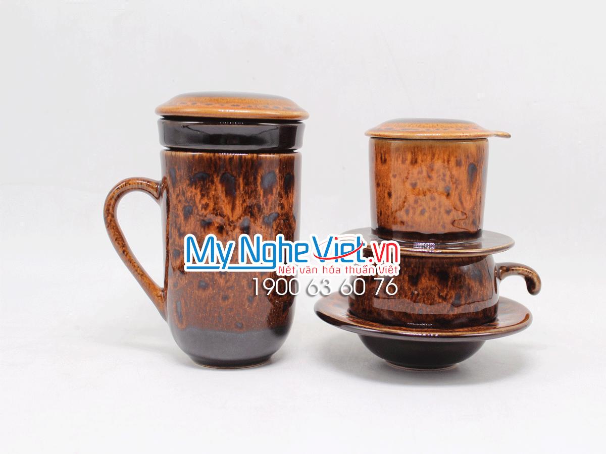 Combo ly lọc trà + phin cafe men Hỏa Biến màu cam MNV-LTM001-3