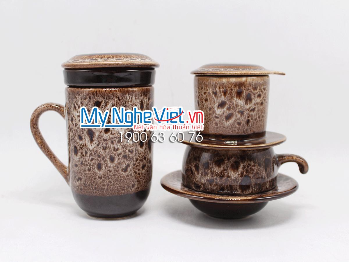 Combo ly lọc trà + phin cafe men Hỏa Biến màu đen trắng MNV-LTM001-1