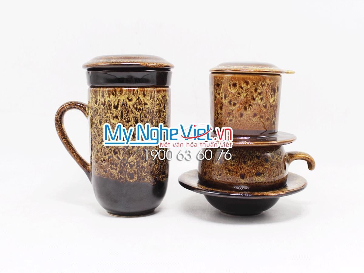 Combo ly lọc trà + phin cafe men Hỏa Biến màu vàng MNV-LTM001-4