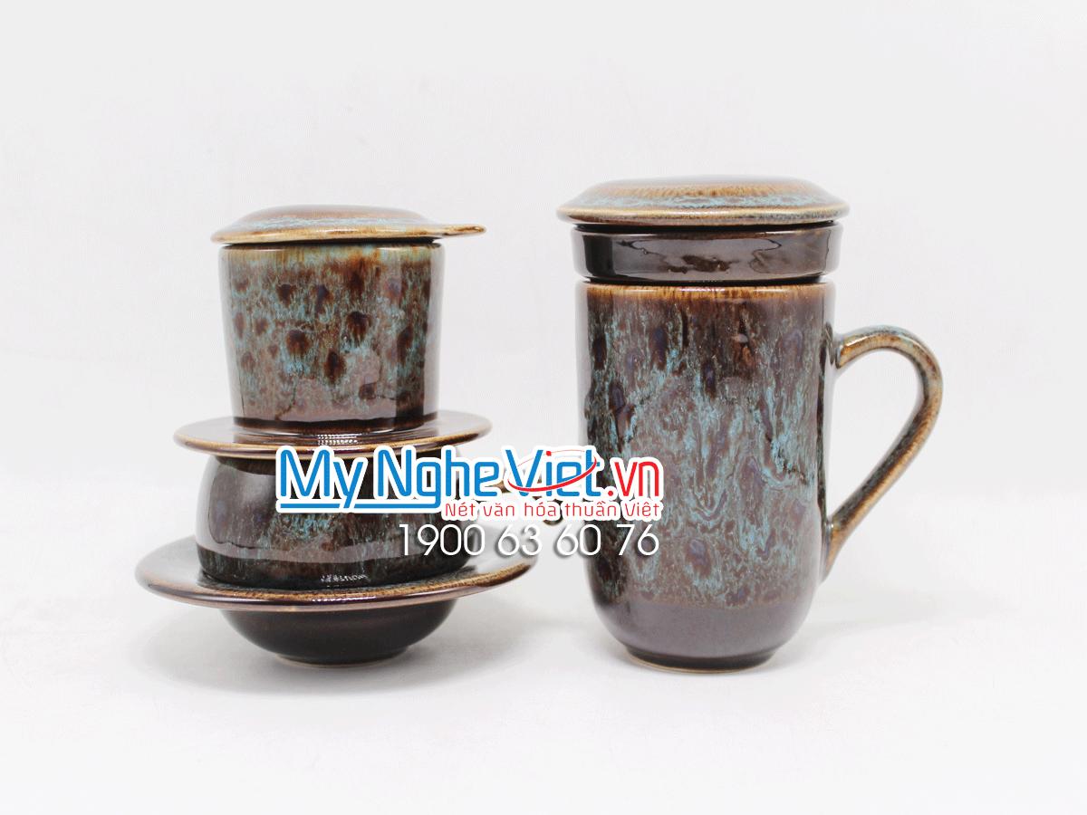 Combo ly lọc trà + phin cafe thấp men Hỏa Biến MNV-CFM001-5 màu xanh dương