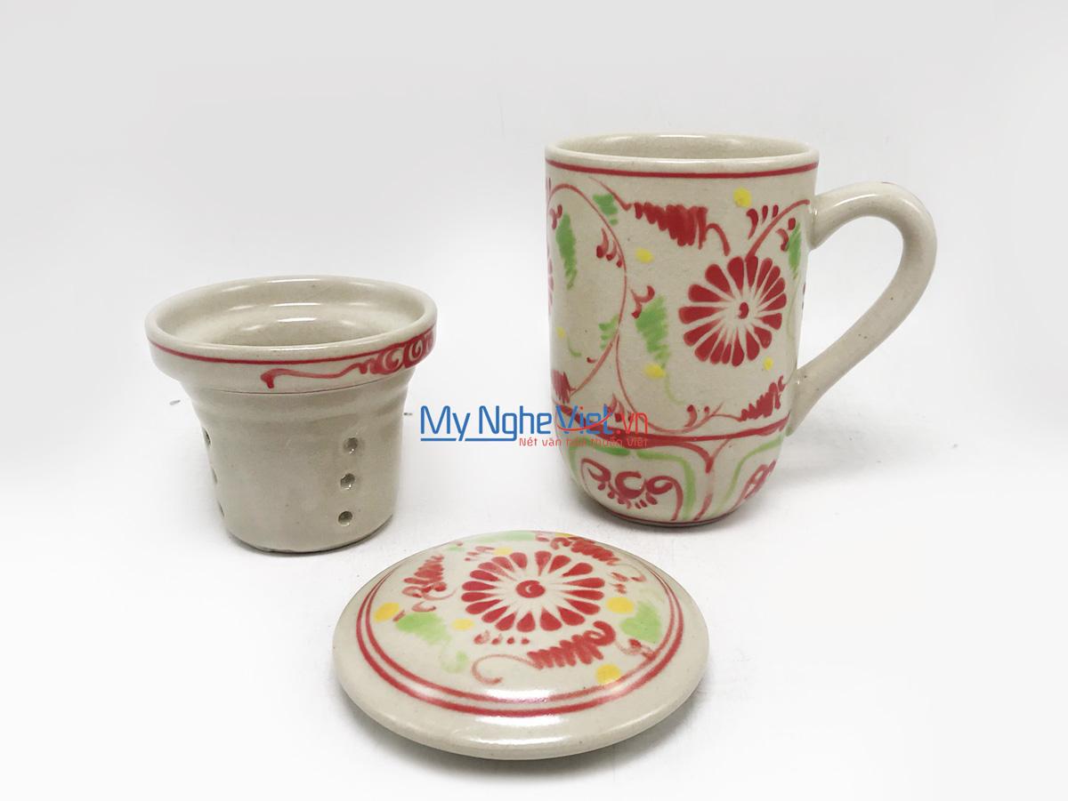 Ly lọc trà gốm hoa văn Hoa Cúc Đỏ MNV-LS006-1