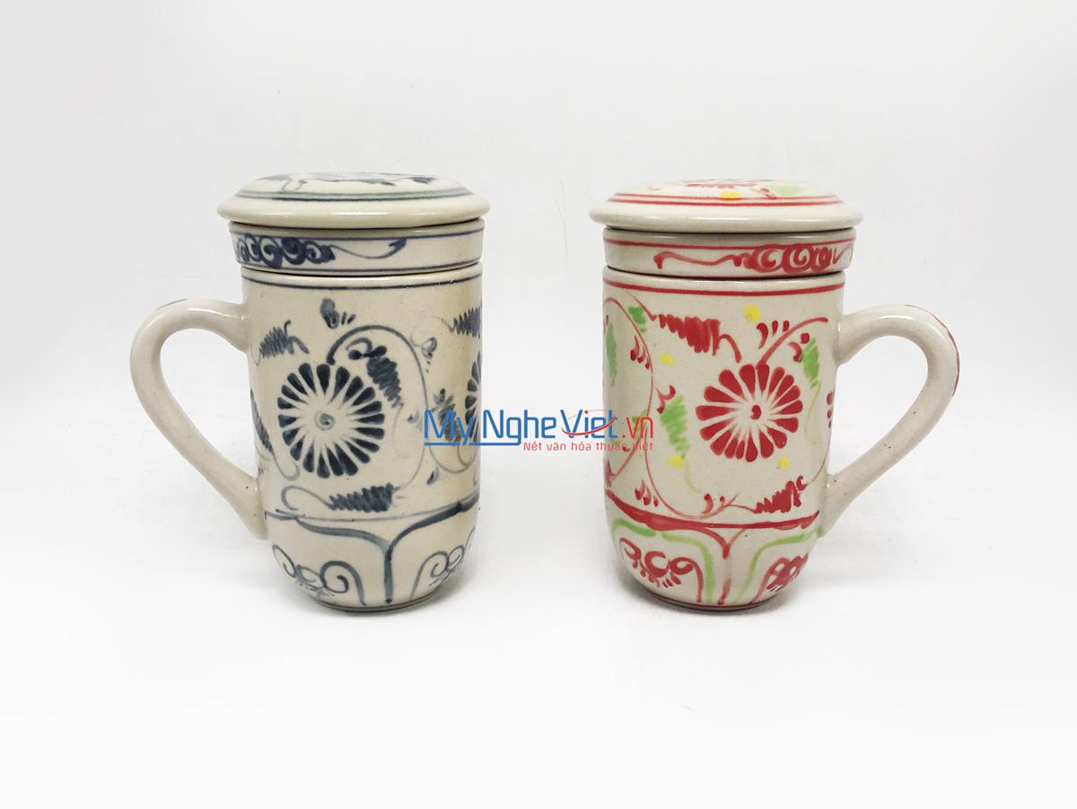 Ly lọc trà gốm hoa văn Hoa Cúc Xanh  MNV-LS006-9