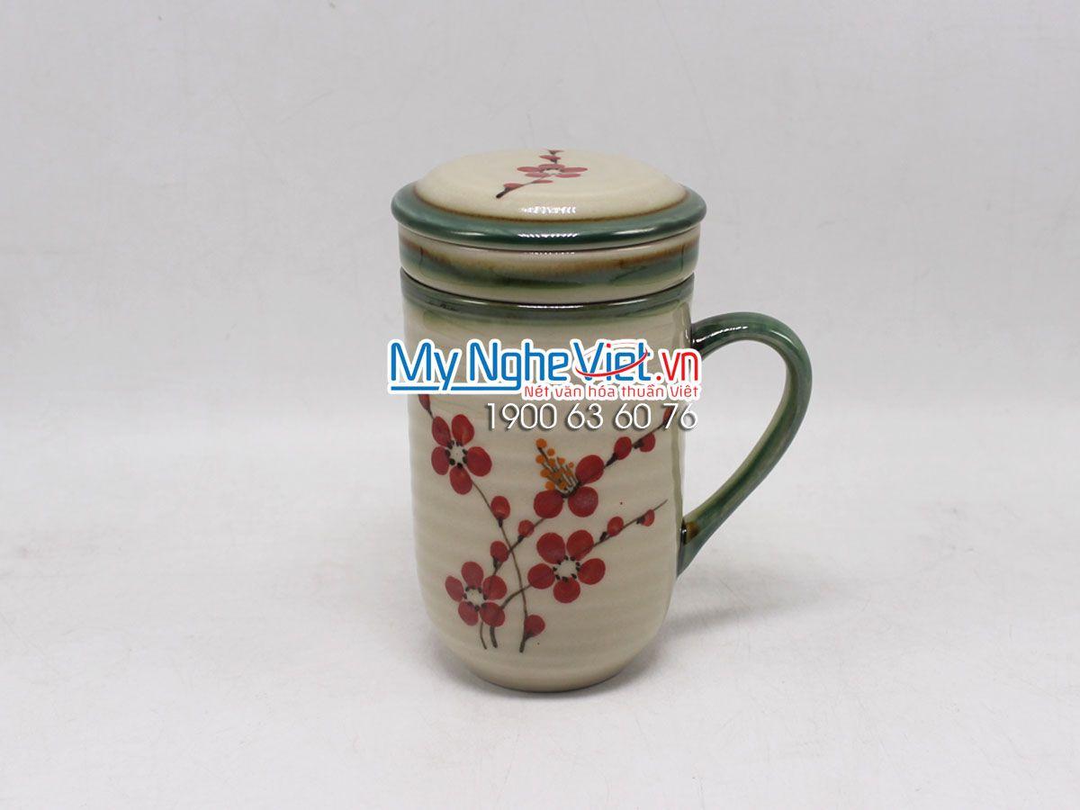 Bộ Ly Lọc Trà Men Bóng Vẽ Tầm Xuân Đỏ MNV-LLT02-3