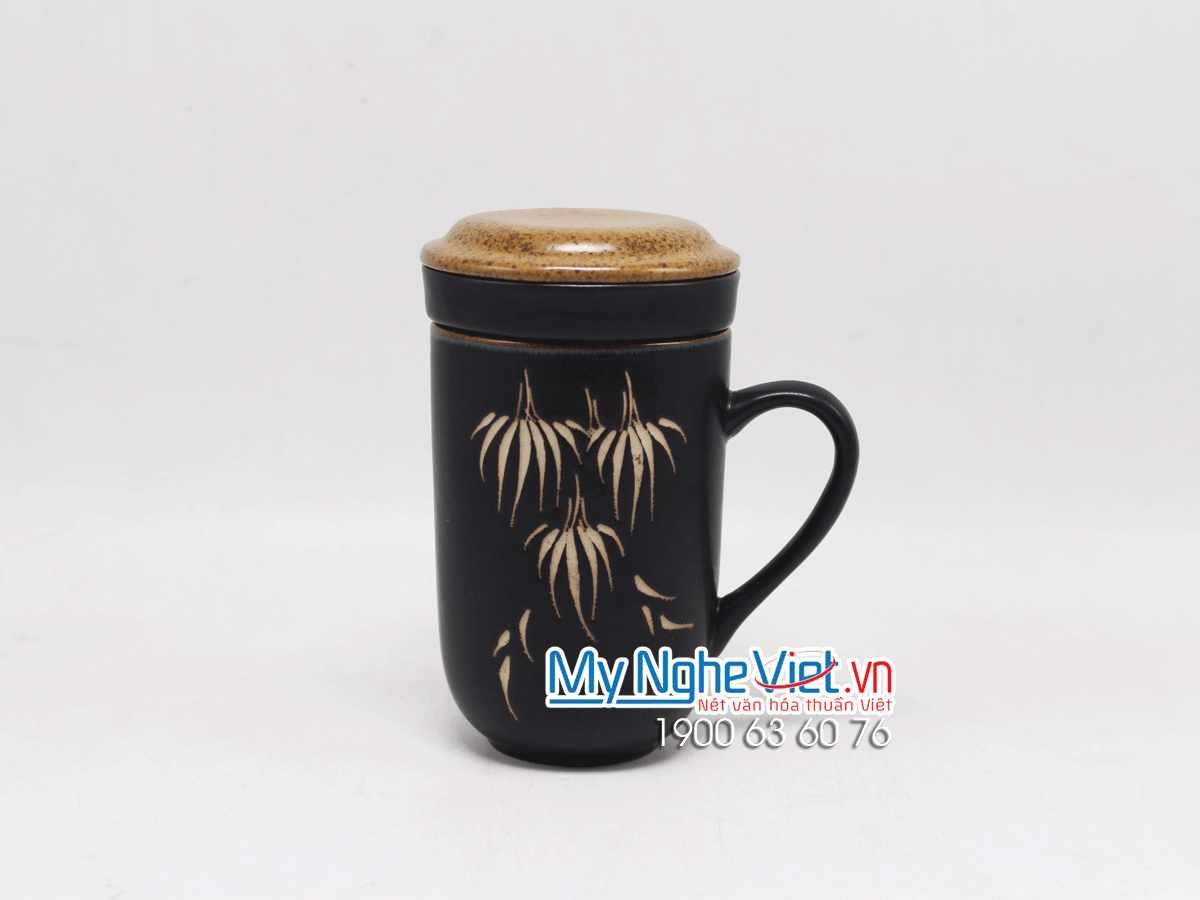 Bộ Ly Lọc Trà Vẽ Trúc Nâu MNV-LLT01-2