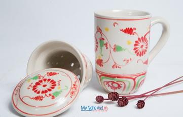 Ly lọc trà gốm hoa văn Hoa Cúc Đỏ MNV-PTCĐ01