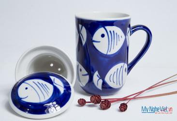 Ly lọc trà gốm hoa văn con cá MNV-PT02